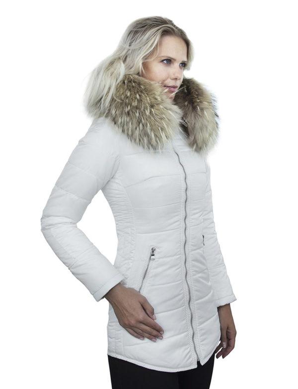 dames winterjas halflang wit Genny Versano silver zip
