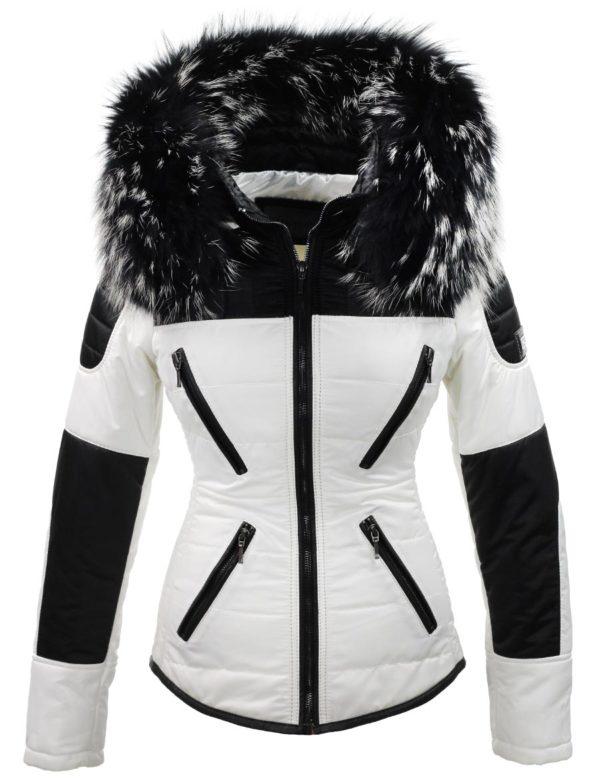 witte-dames-winterjas--met-grote-zwart-witte-bontkraag-versano-voorkant1