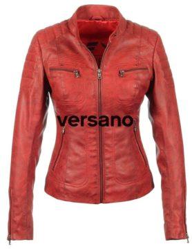 biker jas dames imitatie leer rood Miami Versano