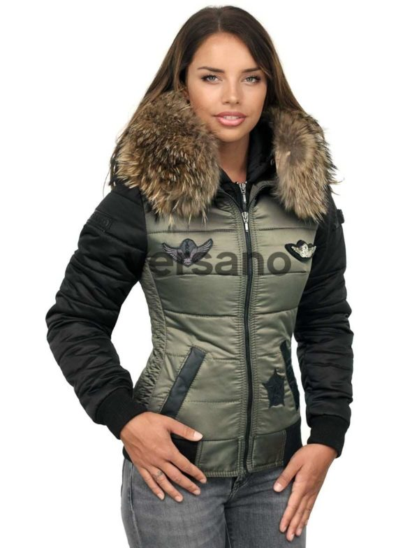 Dames winterjas met bontkraag groen Versano Zara