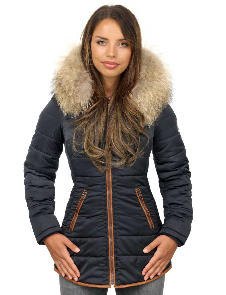 halflange-dames-winterjas-met-bontkraag-blauw-met-cognac-biezen--versano-voorkant-model1