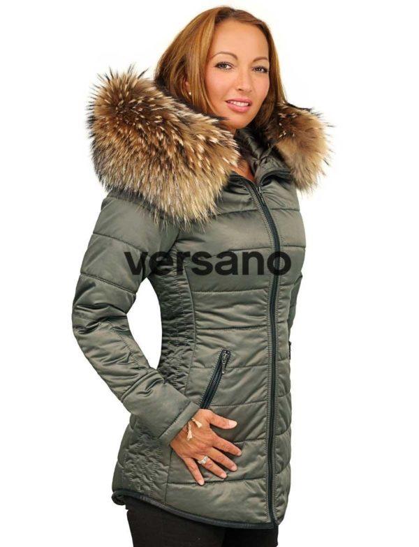 Dames winterjas halflang groen met bontkraag Genny Versano