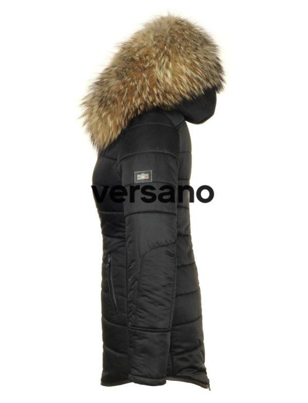 Lange dames winterjas met bontkraag zwart Genny Versano