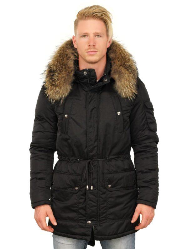 halflang winterjas zwart Thompson Versano