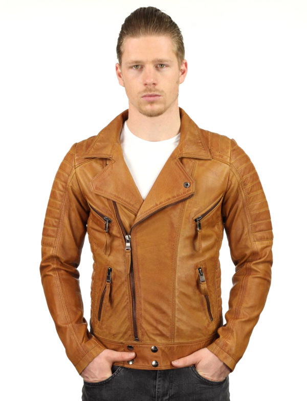 Leren biker jas heren cognac TR50 Versano