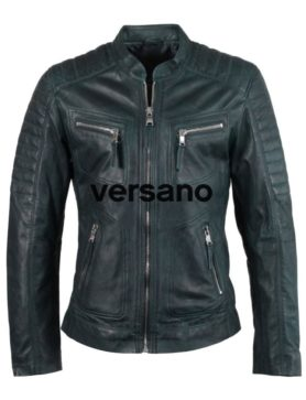 Leather men's jacket blue biker model Versano TR 36 B