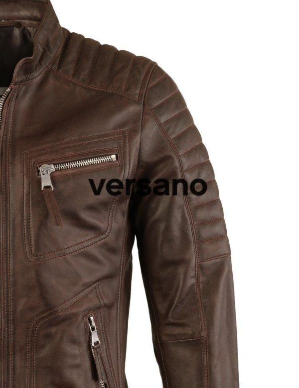 Motorlook leren jas heren bruin van Versano