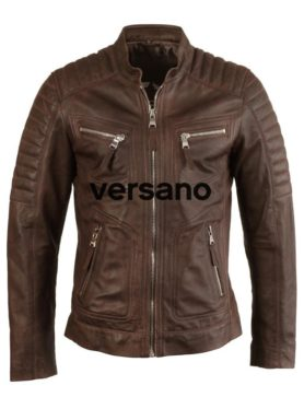 Leather men's jacket brown biker model Versano TR 36 B