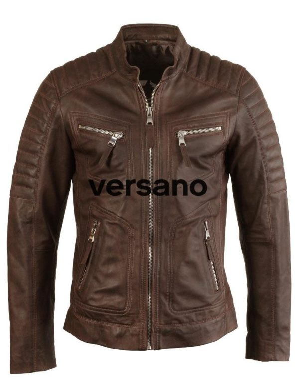 Leren heren jas bruin biker model Versano TR 36 B