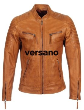 Leather men's jacket Cognac biker model Versano TR 36 B