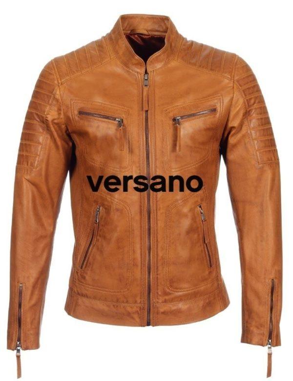 Leren heren jas Cognac biker model Versano TR 36 B