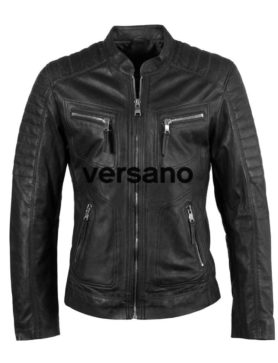 Leather men's jacket black biker model Versano TR 36 B