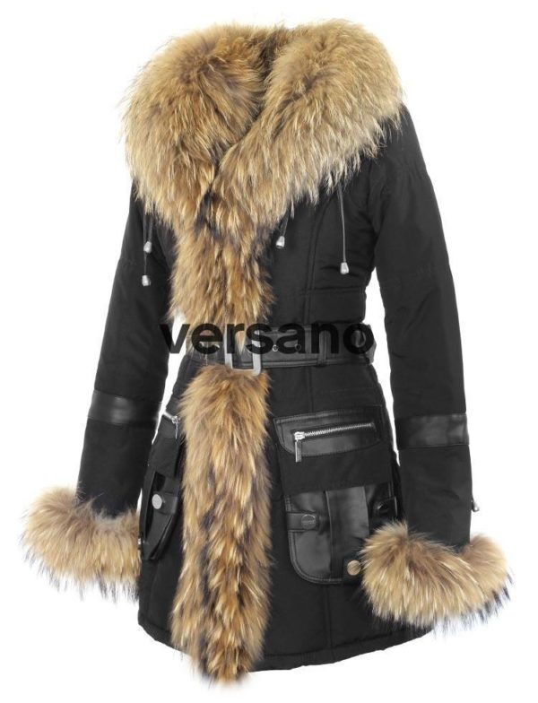 Versano Dames Winterjas Met Bontkraag Mon Cheri Zwart