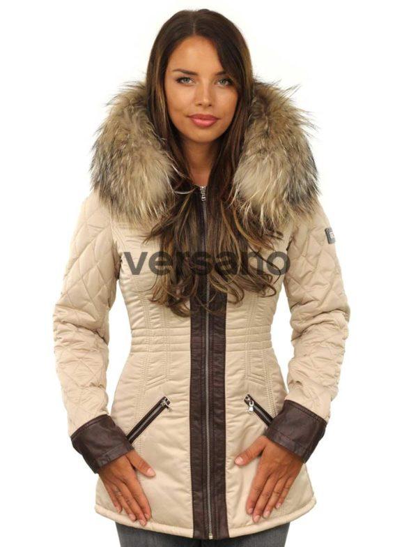 Winterjas dames met pels, Bontkraag jas dames beige van Versano