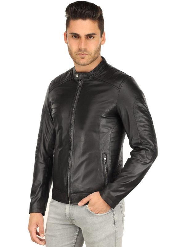 Heren leren jas biker look zwart TR57 Versano