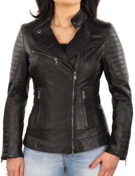leren biker jas dames zwart 311 N Versano
