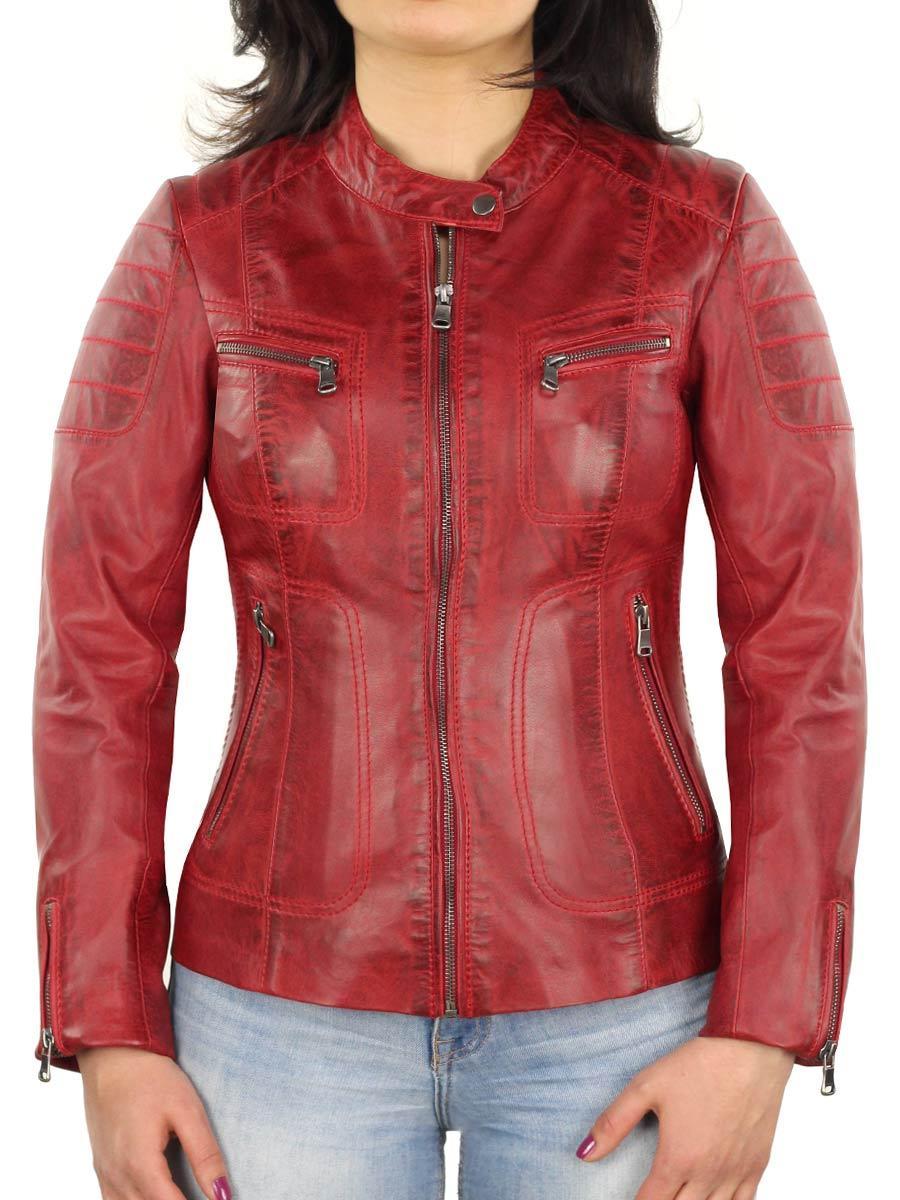 dames leren jasje Versano Miami rood