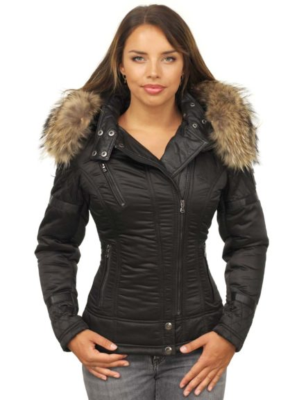 winter jas met bont kraag versano farri zwart