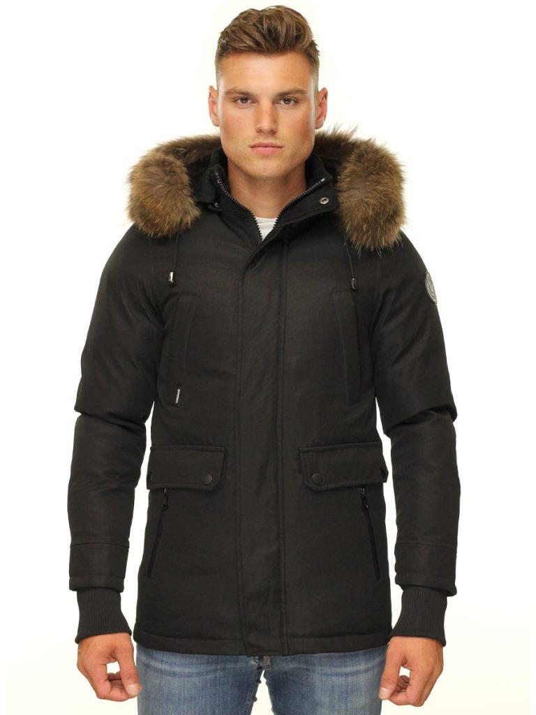Heren winterjas halflang zwart Smart Max Versano