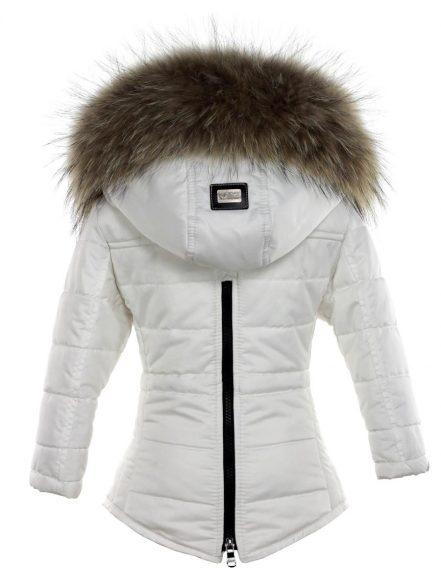 Meisjes parka winterjas met bontkraag wit Versano Genny