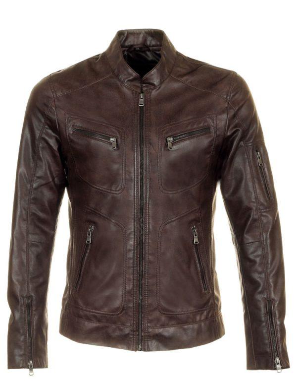 heren-zomerjas-jas-leatherlook-bruin-versano