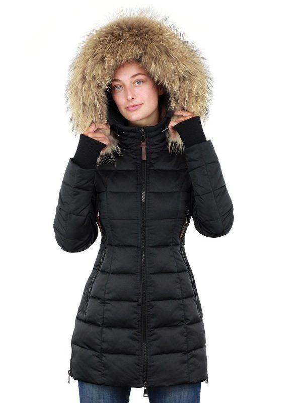 Dames winterjas halflang met bontkraag Sky Versano zwart